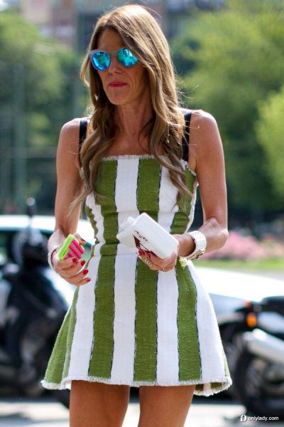 绿色条纹裙