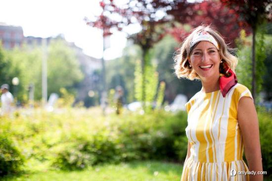 黄色条纹裙