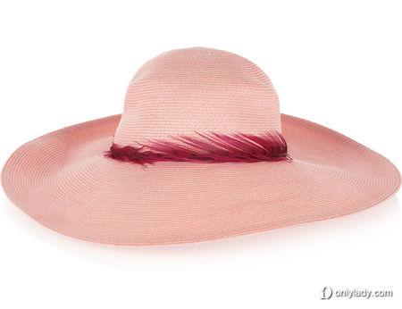 羽毛边饰日式纸草和棉质混纺太阳帽