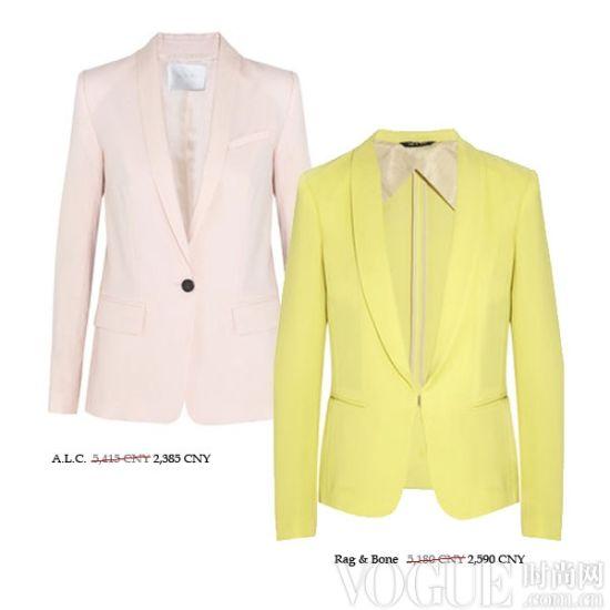 粉彩色长版西装外套