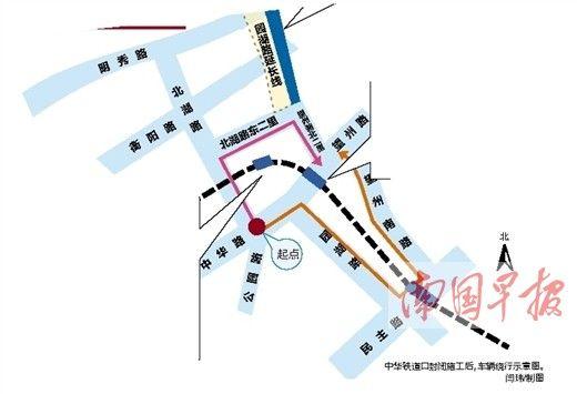中华铁道口封闭施工后,车辆绕行示意图。 闫玮/制图