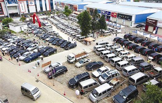 图为柳南区公务车辆公开拍卖现场,准备拍卖的247辆公车停满广场。