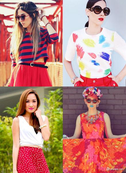 俏皮的红蓝条纹衫搭配红色纱裙