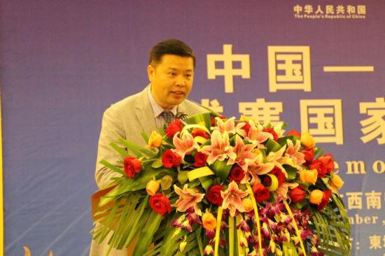 图为南宁华南城有限公司总经理林贤富在典礼上发言。新浪乐居 图