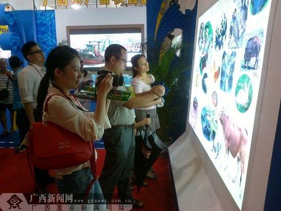 在展馆门口,市民自带相机对特色农产品进行拍照。广西新闻网见习记者 苏艺摄