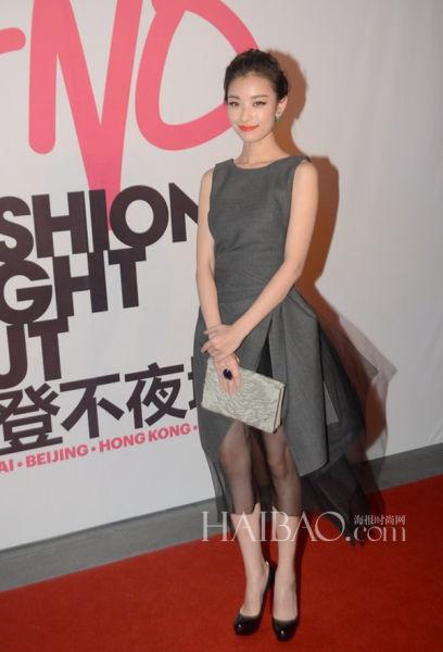 倪妮 in 迪奥 (Dior) 2013秋冬灰色连衣裙