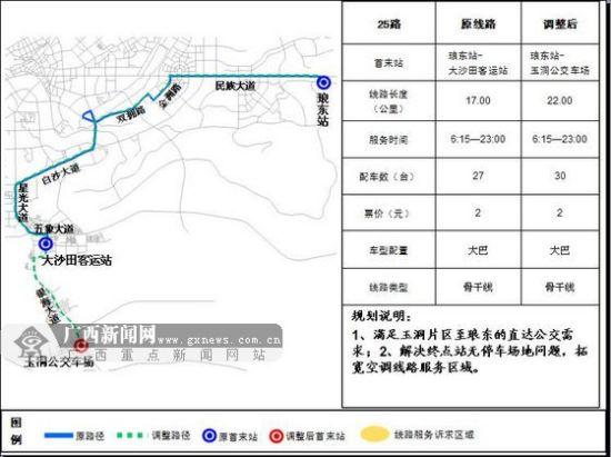 南宁公交25路线调整示意图。南宁市交通局供图