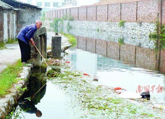灵渠大湾陡附近,一堵围墙紧逼灵渠。89岁老人唐资元正在该处打捞水中的垃圾。南国早报记者郭燕群 邓振福 图