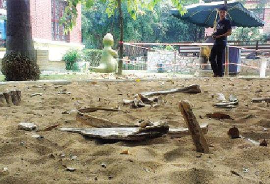 """沙池里有不少""""骨头""""。南国早报记者段钦中 摄"""