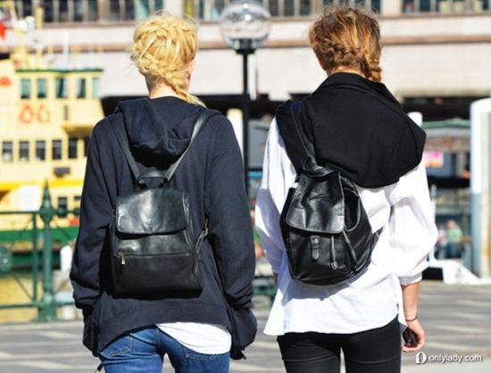 皮革休闲双肩包