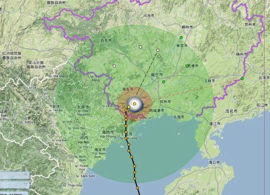 """""""海燕""""11月11日12时07分实时路径图。图片来源:广西水利信息网"""