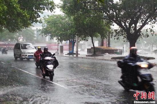 11月11日,广西北海街头,民众驾驶摩托车和汽车迎着强风暴雨出行。中新社记者 冯抒敏 摄