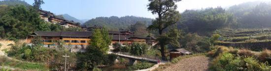 城岭村村口,错落有致的木楼群落在森林竹海中仿若一道风景。