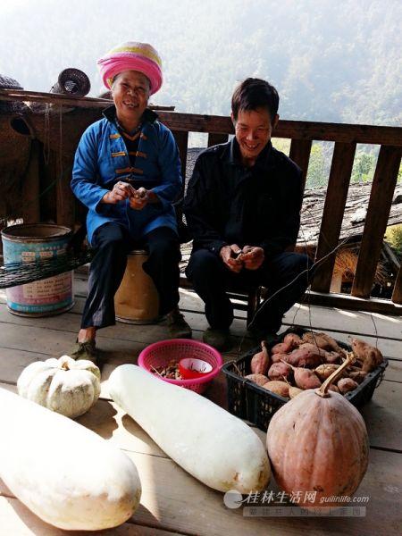 """""""上门女婿""""李贵书和妻子在自家木楼上说说笑笑地拣选着刚摘的瓜果。"""