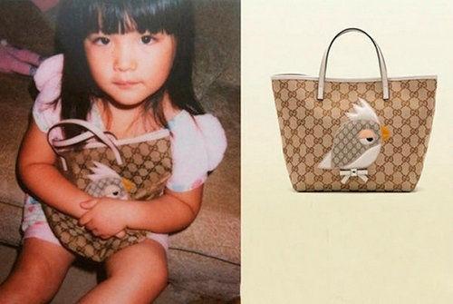 王诗龄拿Gucci Zoo系列儿童手袋