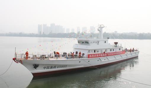 该船是西江造船为广西渔政大队建造的300吨级渔政船
