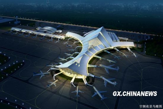 桂林机场夜景鸟瞰图