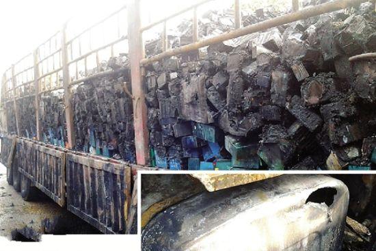 货车经过南宁市江南大道亭江路口时突然起火,油箱爆炸。