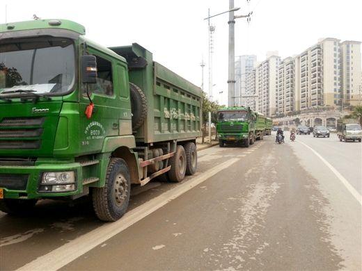 多辆泥头车一字排开停在路边。记者 潘登 摄