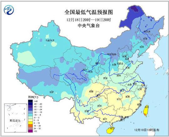 中央气象台18日18时发布的全国最低气温预报图图片来源:中央气象台网