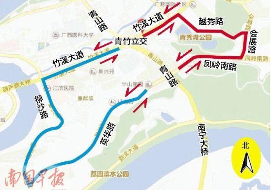 交警提示的绕行路线示意图。图片来源:南国早报