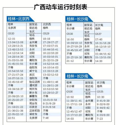 广西动车运行时刻表。