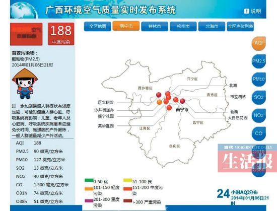 广西环境空气质量实时发布系统。资料图片