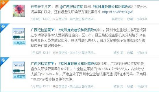 新浪网友积极参与广西纪检监察微访谈提问。