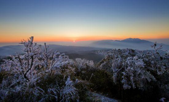 大明山风光:雾凇观日台