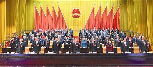 1月16日,自治区第十二届人民代表大会第三次会议在广西人民会堂开幕。图为大会主席台。