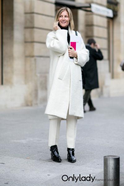 白色大衣街拍