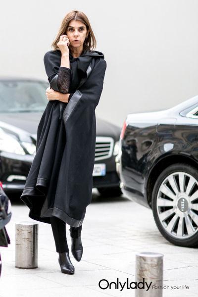 黑色大衣街拍