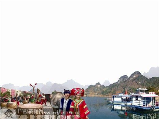 马山壮族会鼓。记者 杨素颜 摄 美丽的上林大龙湖景区。记者 杨 波 摄