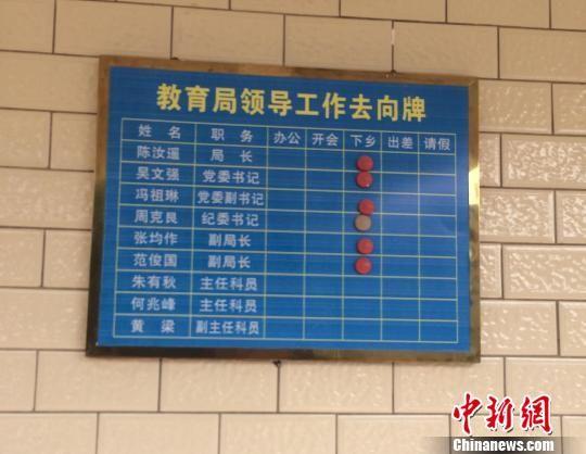 """1月30日,广西北海市合浦县教育局办公楼二楼的领导工作去向牌上显示,该局主要领导的去向均为""""下乡""""。 陈燕 摄"""