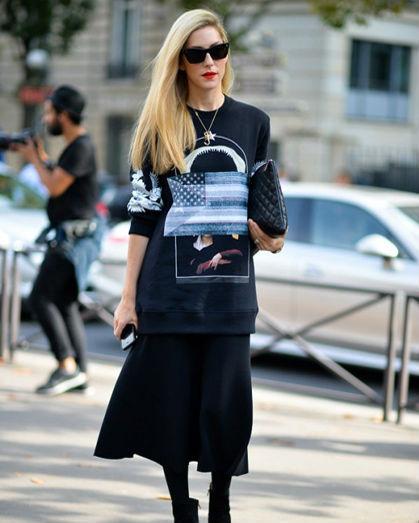 黑色图案卫衣
