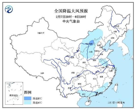 7日18时中央气象台发布的全国降温大风预报图。图示中广西绝大部分地区处于降温6℃以上。