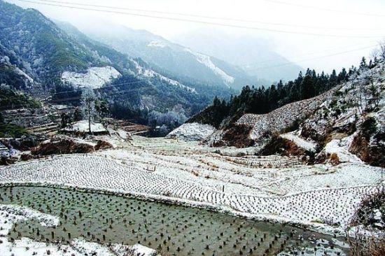 2月9日,全州县大西江镇炎井村下起了雪,田野村庄到处银装素裹。唐国辉摄