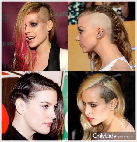 头发剃一半 欧美女星上瘾铲青发型