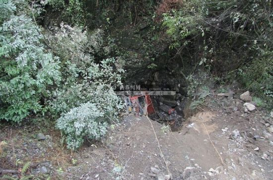 图中的红色大货车为坠入山崖的车辆。广西新闻网通讯员 韦久荣 覃龙 摄
