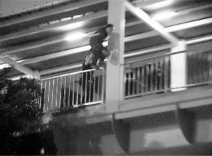 男子跳下桥的一瞬间,被身后的民警及时抓住。信息时报记者 周伟龙 摄