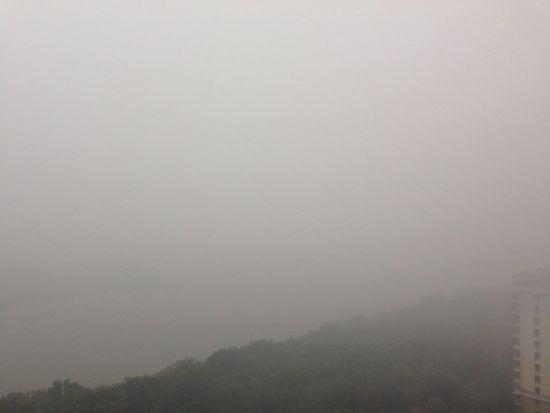 新浪广西网友今天(3月12日)9时拍到的南湖,笼罩在雾气中。