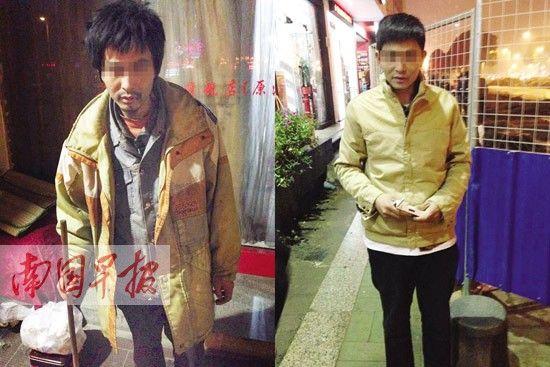 """""""向上""""梳洗后换上新衣服(图右),和流浪时(图左)判若两人。"""