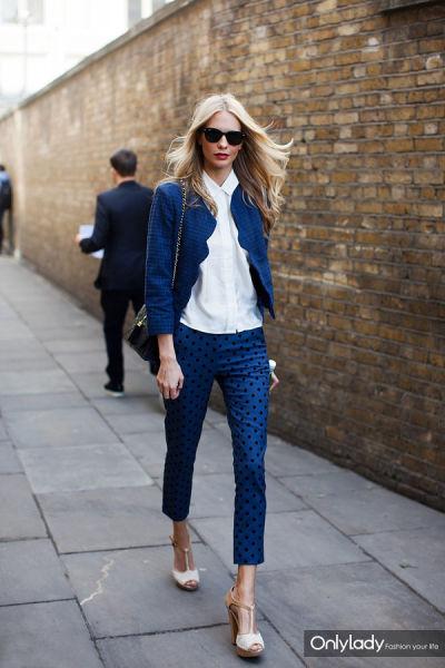 蓝色波点裤