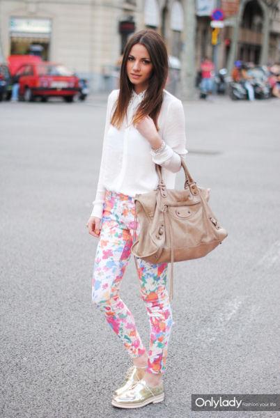 粉色印花裤