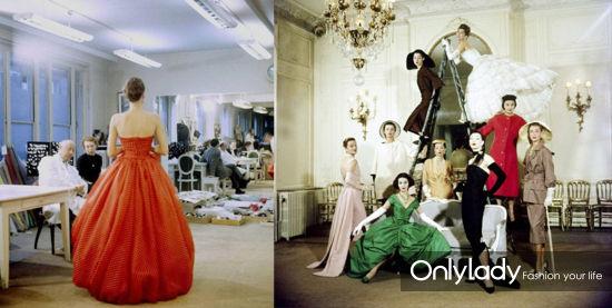 Christian Dior先生与模特在工作室试装、1957年Dior高级定制发布沙龙