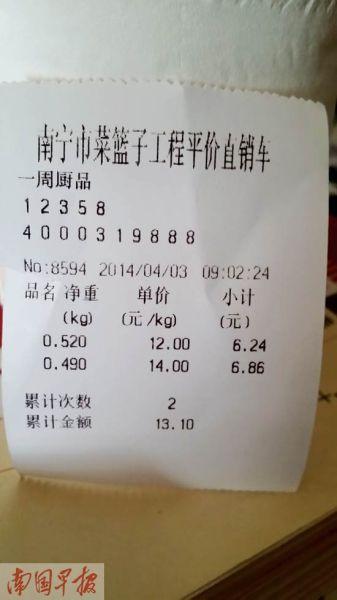 销售小单显示:4月3日,平价直销车长豆角每公斤12元,苦瓜每公斤14元。记者 王世杰摄
