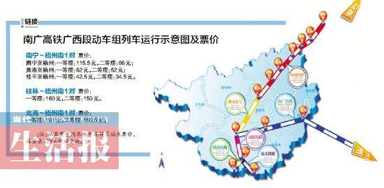 南广高铁广西段动车组列车运行示意图及票价