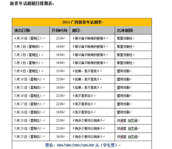 2014广西新青年话剧季排期