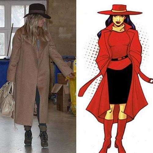 Kim Kardashian 和卡通人物Carmen Sandiego