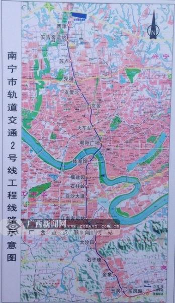 南宁地铁2号线工程线路示意图。图片来源:广西新闻网